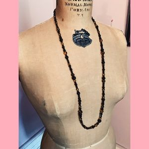 Jewelry - Black and Amber Glass Beaded Long Necklace